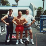 "WITH ""MR. UNIVERSE"" GEORGE EIFERMAN  AND POWERLIFTER / FOOTBALL PLAYER MALCOLM ARNOLD AT  MUSCLE BEACH VENICE"